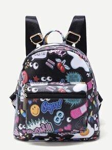 Black Cartoon Print Pocket Front PU Backpack