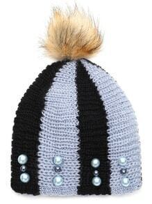 Black and Blue Stripe Beaded Hat with Pom