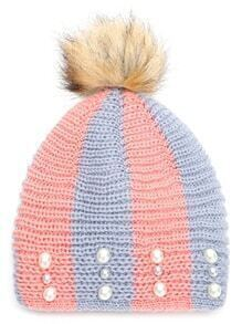 Pink and Blue Stripe Beaded Hat with Pom