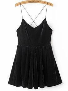 Black Spaghetti Strap Cross Back Velvet Romper