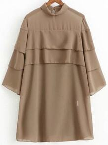 Khaki Three Quarter Sleeve Layered Dress