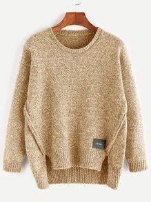Khaki High Low Slit Patch Detail Sweater