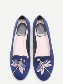Blue Rhinestone And Beaded Dragonfly Embellished Flats