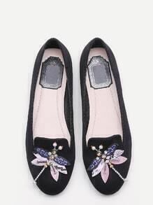 Black Rhinestone And Beaded Dragonfly Embellished Flats