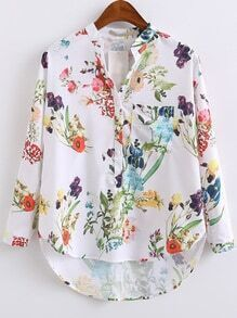 White Floral Print High Low Blouse With Pocket