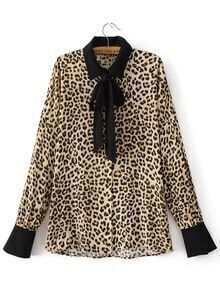 Leopard Print Contrast Trim Blouse With Bow Tie