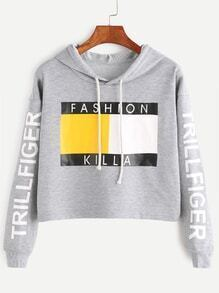 Heather Grey Letter Print Drop Shoulder Crop Hoodie