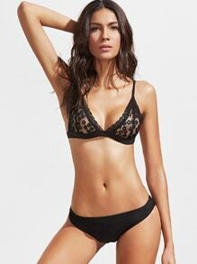Black Triangle Floral Lace Bralet