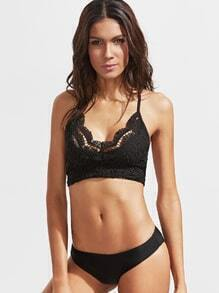 Black Cross Back Lace Bralet