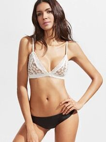 White Triangle Floral Lace Bralet
