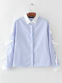 Blue Vertical Striped Contrast Collar Blouse With Bow Tie
