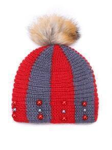 Color Block Beading Beanie Hat With Pom