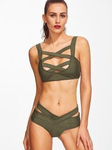 Army Green Criss Cross Cutout Bikini Set