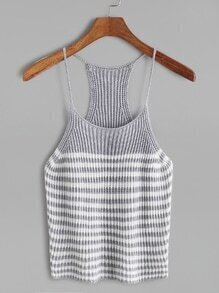 Light Grey Striped Knit Cami Top