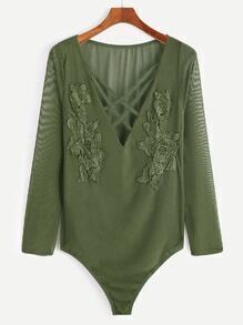 Army Green Deep V Neck Crisscross Applique Sheer Bodysuit