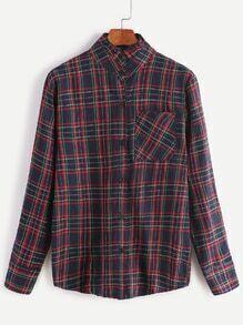 Tartan Plaid Ruffle Collar Shirt With Pocket