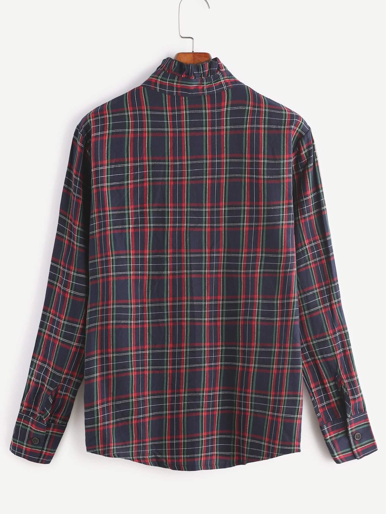 chemise en cossais de ruch sur collier avec poche tartan french romwe. Black Bedroom Furniture Sets. Home Design Ideas