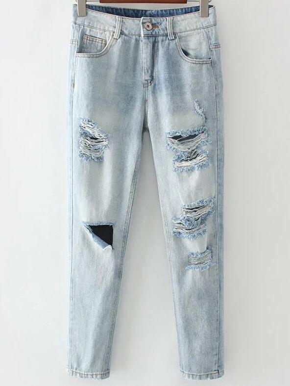 helle blaue zerrissene knopf fliegen jeans german romwe. Black Bedroom Furniture Sets. Home Design Ideas