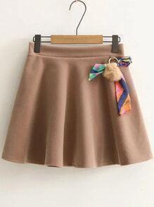 Khaki Elastic Waist A Line Skirt With Pom