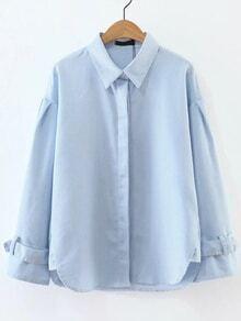 Blue Vertical Striped Adjustable Cuff Blouse