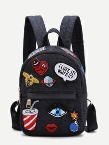 Black Zip Front Cartoon Patch Mini Backpack