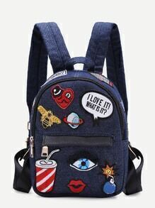 Dark Blue Zip Front Cartoon Patch Mini Backpack