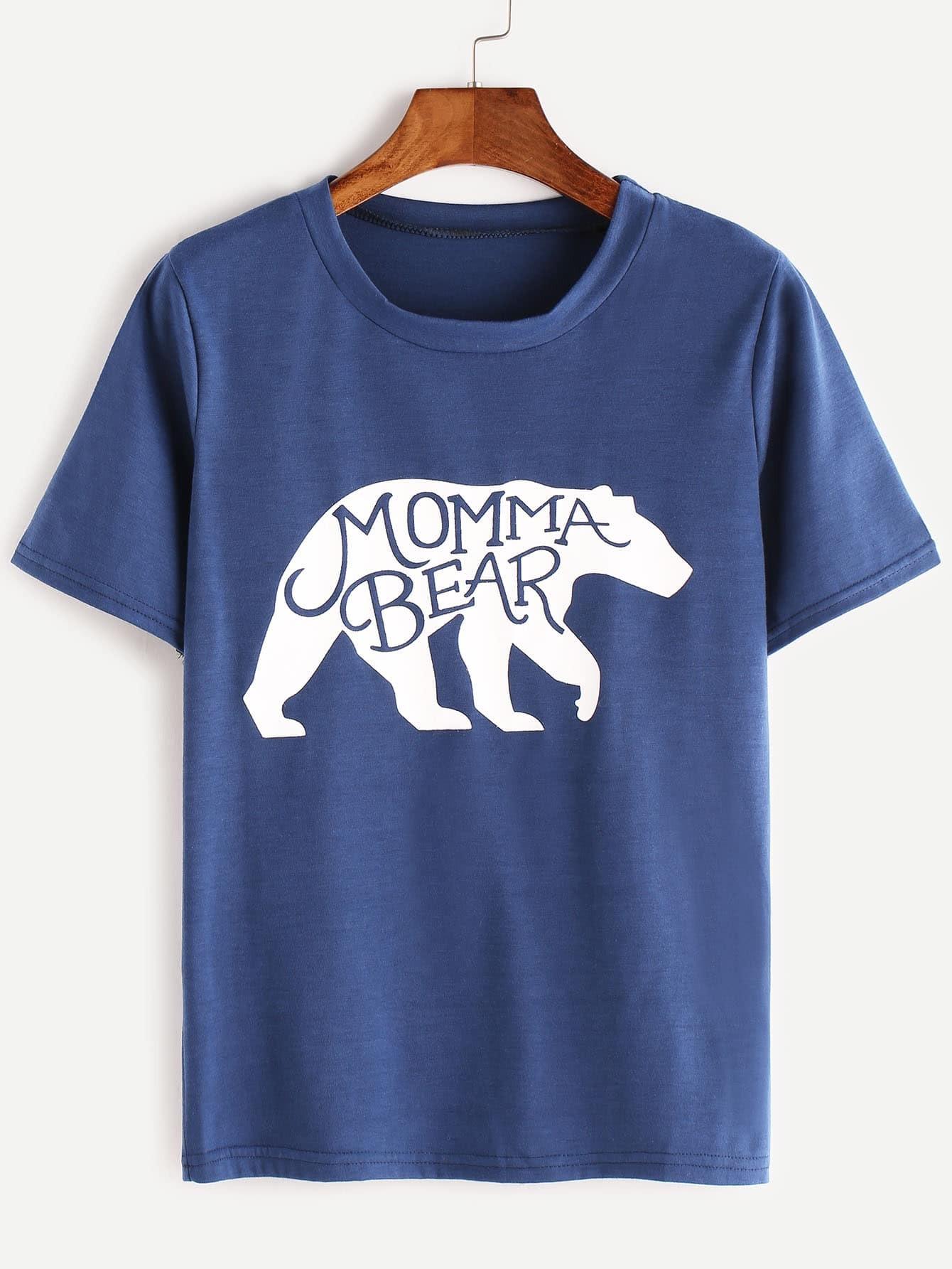 t shirt bleu d 39 impression d 39 ours de momma french romwe. Black Bedroom Furniture Sets. Home Design Ideas