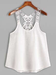 White Contrast Lace Crochet Cami Top