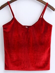 Red Spaghetti Strap Velvet Cami Top