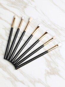 Sets de cepillo metálico 7pcs de maquillaje - negro