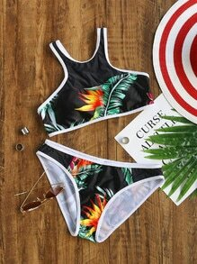 Black Tropical Print Contrast Trim Bikini Set