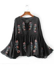 Black Floral Embroidery Bell Sleeve Blouse
