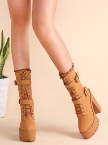 Camel Buckle Lace Up Chunky Heeled Boots