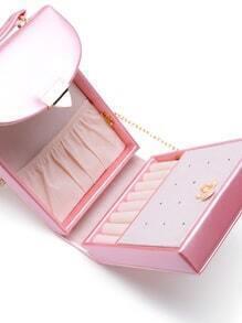 Glittery Pink Flip-open Leather Jewelry Case