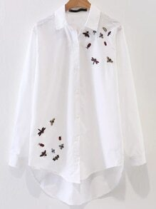 White Bee Embroidery High Low Blouse