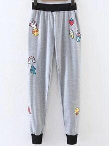 Gris, dessin animé, impression, contraste, garniture, pantalon