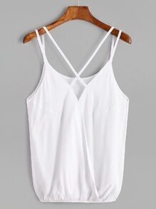 White Criss Cross Back Strappy Cami Top