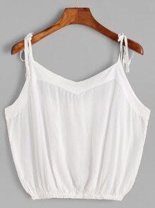 White Tie Detail Crop Cami Top