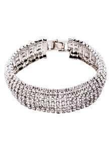 Silver Rhinestone Encrusted Bracelet