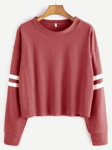 Brick Red Drop Shoulder Varsity Striped Crop T-shirt