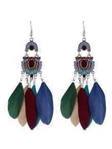 Colorful Feather Long Chandelier Earrings