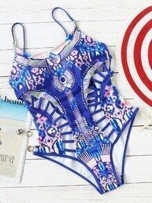 Blaue gedruckte Strichleiter-Ausschnitt-einteilige Badebekleidung