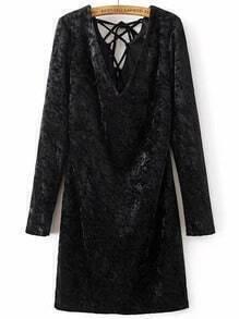 Vestido con cuello en V espalda con cordones de terciopelo - negro