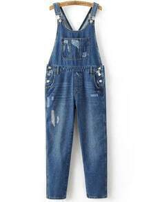 Blue Ripped Front Pocket Overall Jeans