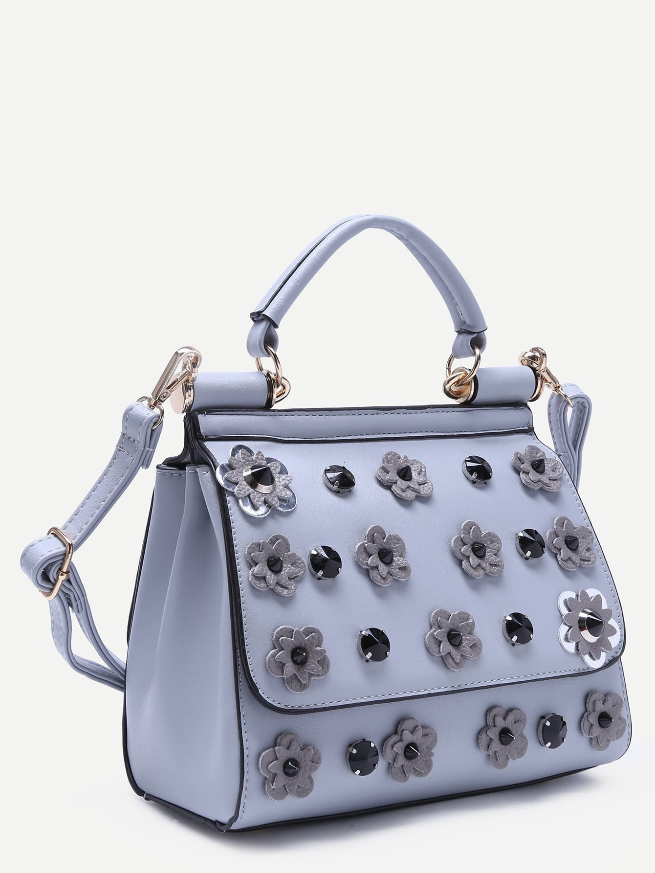Light Blue Flower And Rhinestone Embellished PU Handbag With StrapFor Women-romwe