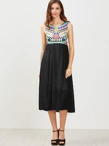 Black Geometric Print Sleeveless 2 In 1 Dress