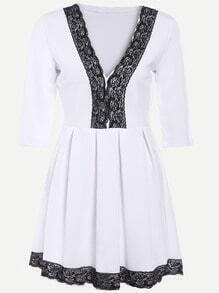 White Contrast Lace V Neck Pleated Dress