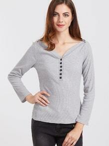 Grey Button V Neck Casual Top