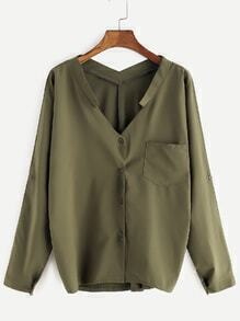 Army Green V Neck Blouse With Pocket