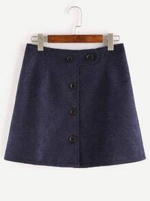 Navy Button Up A Line Skirt